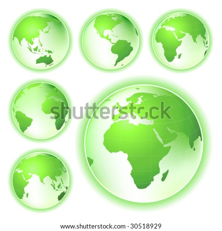 environmental conservation symbol planet earth; map from six views - stock vector