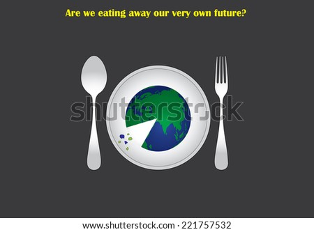 environmental distruction concept with earth served on a plate to eat like a pizza. destruction of environment by humans illustrated with an abstract concept art work - stock vector