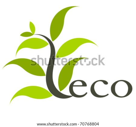 Environmental eco icon or logo with plant. Vector illustration