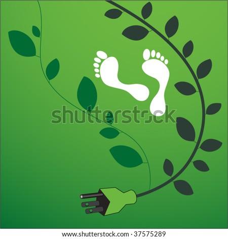 environmental footprint with powercord and leaves - stock vector