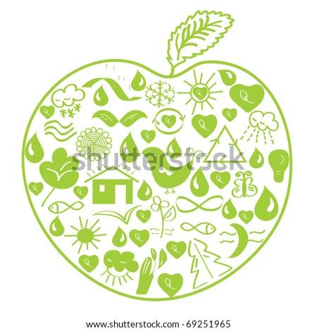 Environmental green apple made of symbols - stock vector