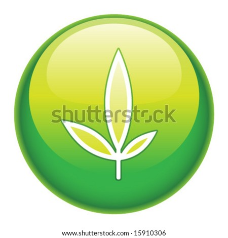 Environmental green button or icon. - stock vector