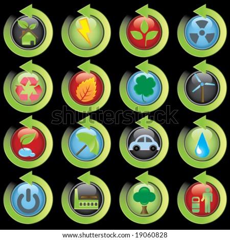 environmental green icons - stock vector
