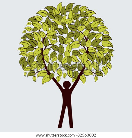 Environmental icon - stickman as tree - stock vector
