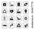 Environmental icons - B&W series - stock vector