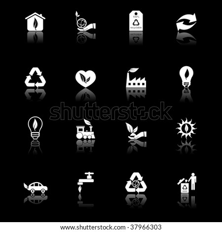 Environmental icons - black series - stock vector