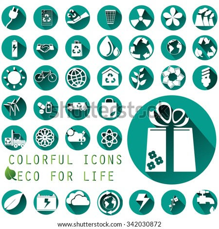 Environmental icons in green circle vector illustration style - stock vector