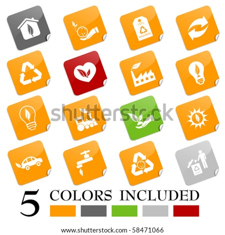Environmental icons - sticky series - stock vector