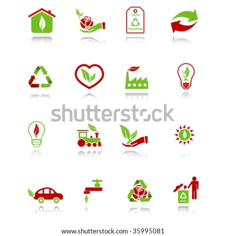 Environmental icons with reflection, green-red series - stock vector