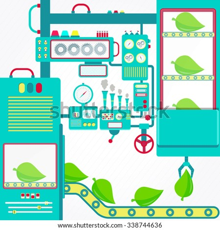 Environmental industry. Environmental industry with machinery and gripper holding leaf. - stock vector