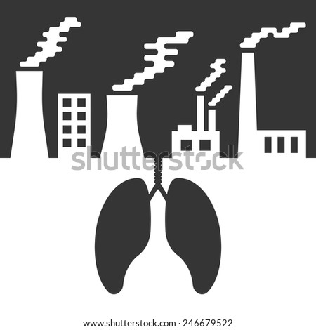 environmental issues with lungs and air pollution. concept of ecocatastrophe, air contamination, pulmonary disease, ecological catastrophe and bionomics. trendy modern design vector illustration - stock vector