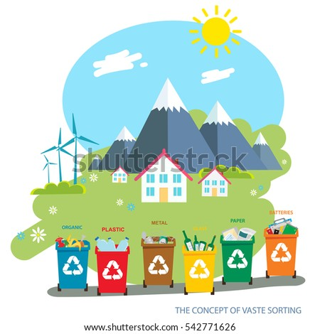 Environmental landscape cottages mountains in the background.wind energy. Environmental protection. Flat design style vector illustration.Recycle garbage bins. Separation concept.