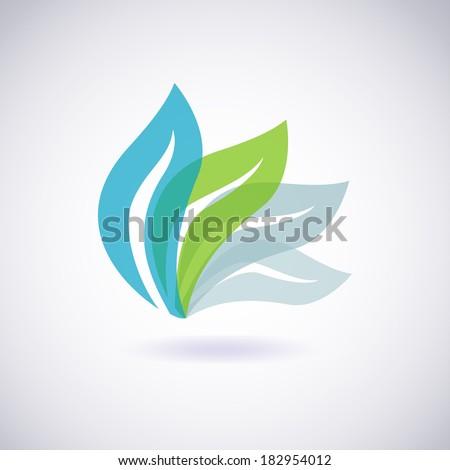 Environmental leaves icon. Vector eco icon - stock vector