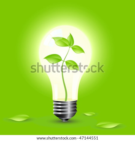 Ecology Think Green Bulb Vector Illustration Stock Vector ...