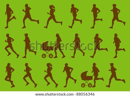 Environmental marathon runners people silhouettes illustration collection - stock vector