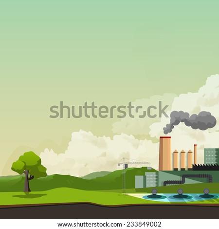 environmental pollution background, vector illustration, - stock vector