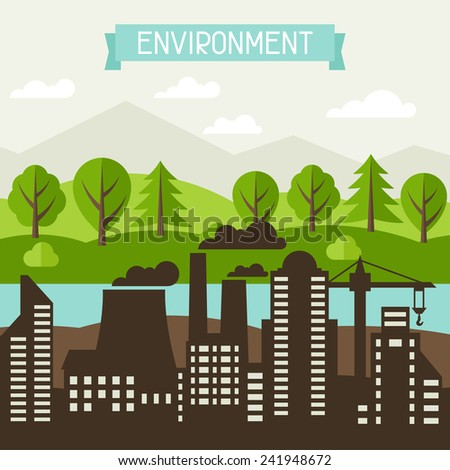 Environmental pollution ecology concept illustration in flat style. - stock vector