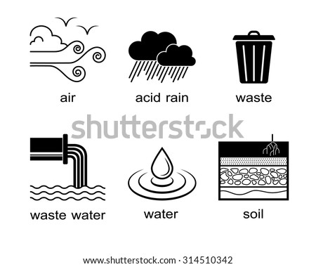 Environmental pollution icons, strokes editable - stock vector