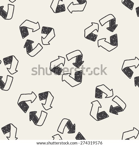 Environmental protection concept; Doing recycle to protect our environment; recycled garbage; doodle seamless pattern background - stock vector