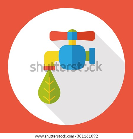 Environmental protection concept flat icon; Conserve water, protect the environment. - stock vector
