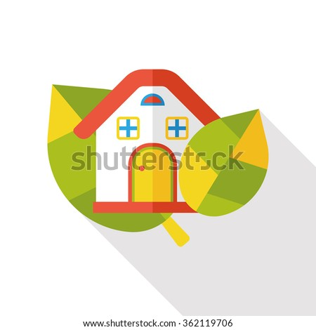 Environmental protection concept flat icon; green house - stock vector