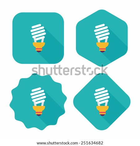 Environmental protection concept flat icon with long shadow,eps10; Saving energy, turning off lights - stock vector