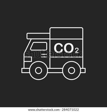 Environmental protection concept green car line icon - stock vector