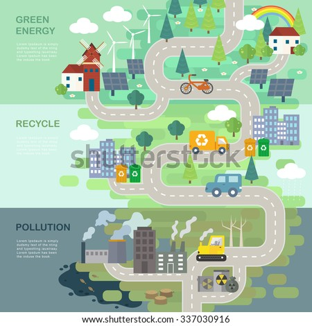 environmental protection concept in 3d isometric flat design  - stock vector