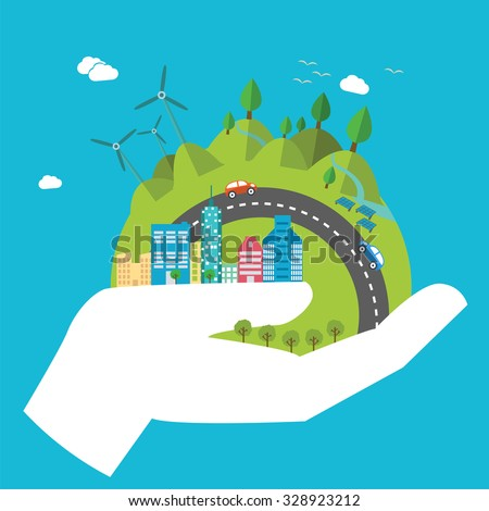 Environmental protection, ecology concept in flat style. Vector illustration. Hands holding Earth with ecology symbols. Eco-city, green energy, wild nature concept.Solar panels. - stock vector