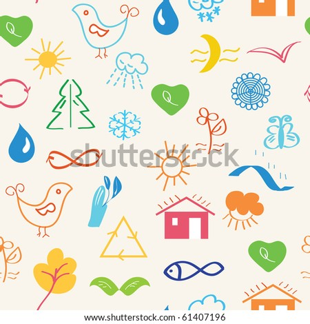 Environmental seamless pattern with nature symbols