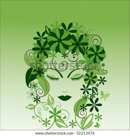environmental woman with foliage (blank behind facial features) - stock vector