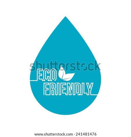 Environmentally friendly drop of water with leaves. Bio concept. emblem - stock vector