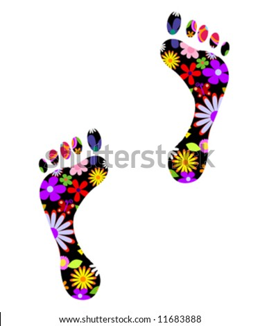 Environmentally friendly footsteps fully editable vector illustration