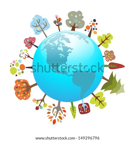 Environmentally friendly planet with colorful trees - suitable for eco topics