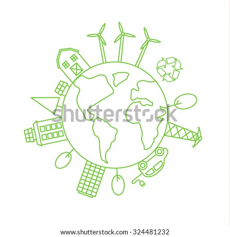 Environmentally friendly world, green planet logo or symbol in linear style. Ecology concept. Grethe icon and sign. ecological concepts