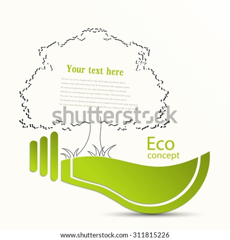 Environmentally friendly world. Tree growing inside the light bulb. Vector illustration of ecology the concept of infographics. The icon, banner, background . Ecological concepts.. Nsert the text.