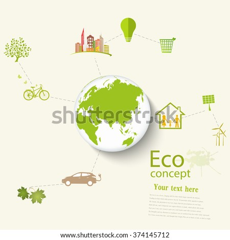 Environmentally friendly world. Vector illustration of ecology the concept of info graphics modern design. Ecological concepts. Triangular recycling symbol. - stock vector