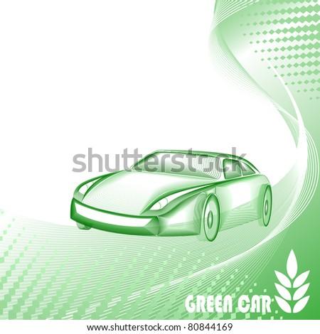 Environmentally safe green car - stock vector