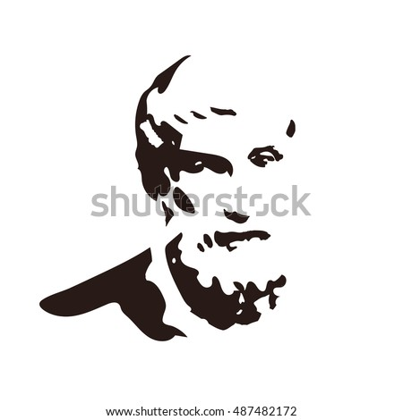 Epicurus - vector portrait of the ancient Greek philosopher