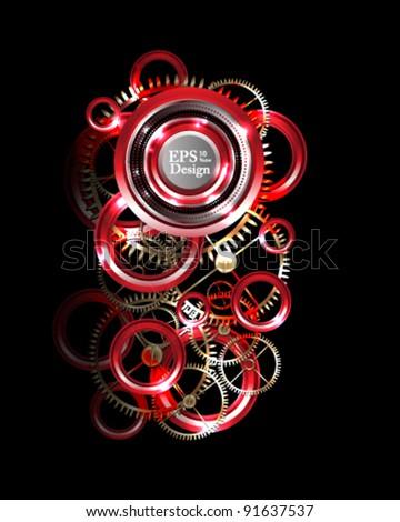 eps10 abstarct background metallic gear - stock vector