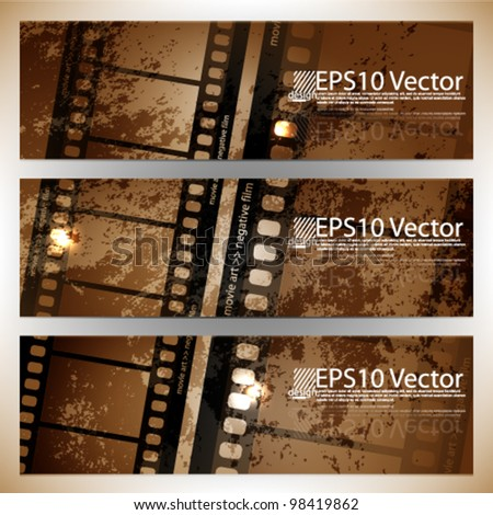 eps10 abstract cinema banner set - stock vector