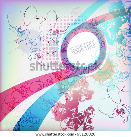 eps10 abstract frame with colored floral elements - stock vector