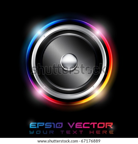 EPS10 Abstract Futuristic Speaker with Glowing Lights Behind - Vector Background - stock vector