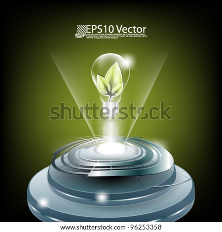 eps10 abstract green leaves futuristic concept design - stock vector