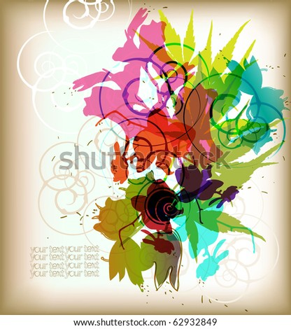 eps10 abstract mix of floral elements - stock vector