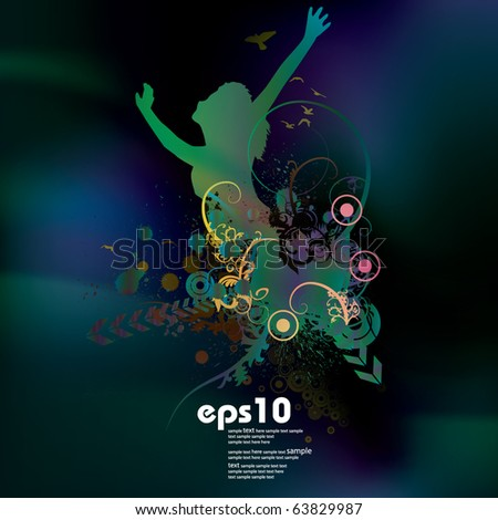 EPS10 Abstract music cover - stock vector