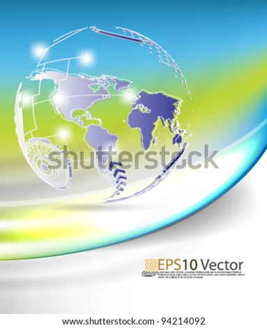 eps10 abstract vector colorful futuristic globe design with elegant wave - stock vector