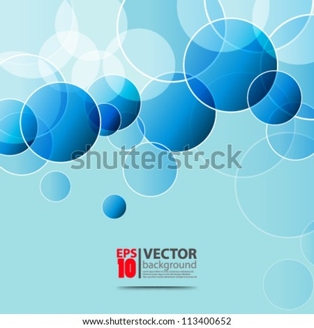 eps10 abstract vector design, blue  circles on monochromatic backgound - stock vector