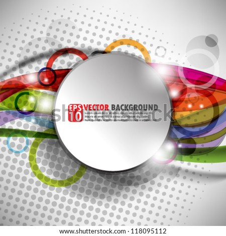 eps10 abstract vector design - circles with multicolor wave illustration - stock vector