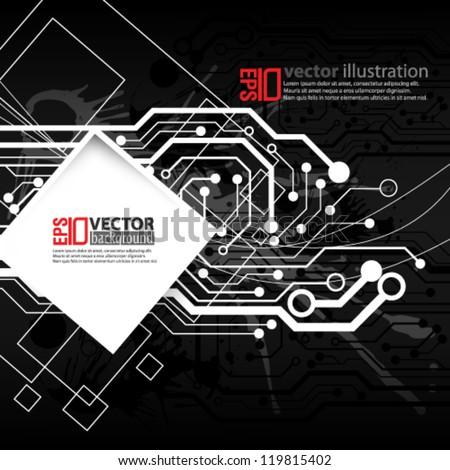 eps10 abstract vector design - futuristic circuit board concept - stock vector